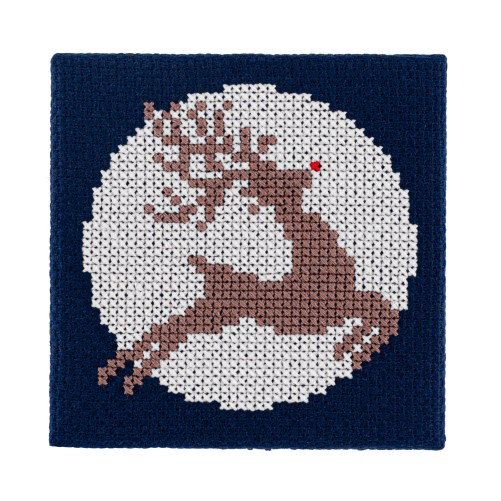 Mini Glow in the Dark Reindeer Cross Stitch Kit | STITCHFINITY
