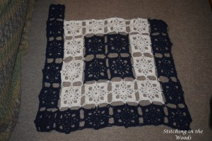 My progress so far on the motif blanket. I have five dark blue squares and the edging left.