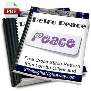 Retro Peace free cross stitch pattern