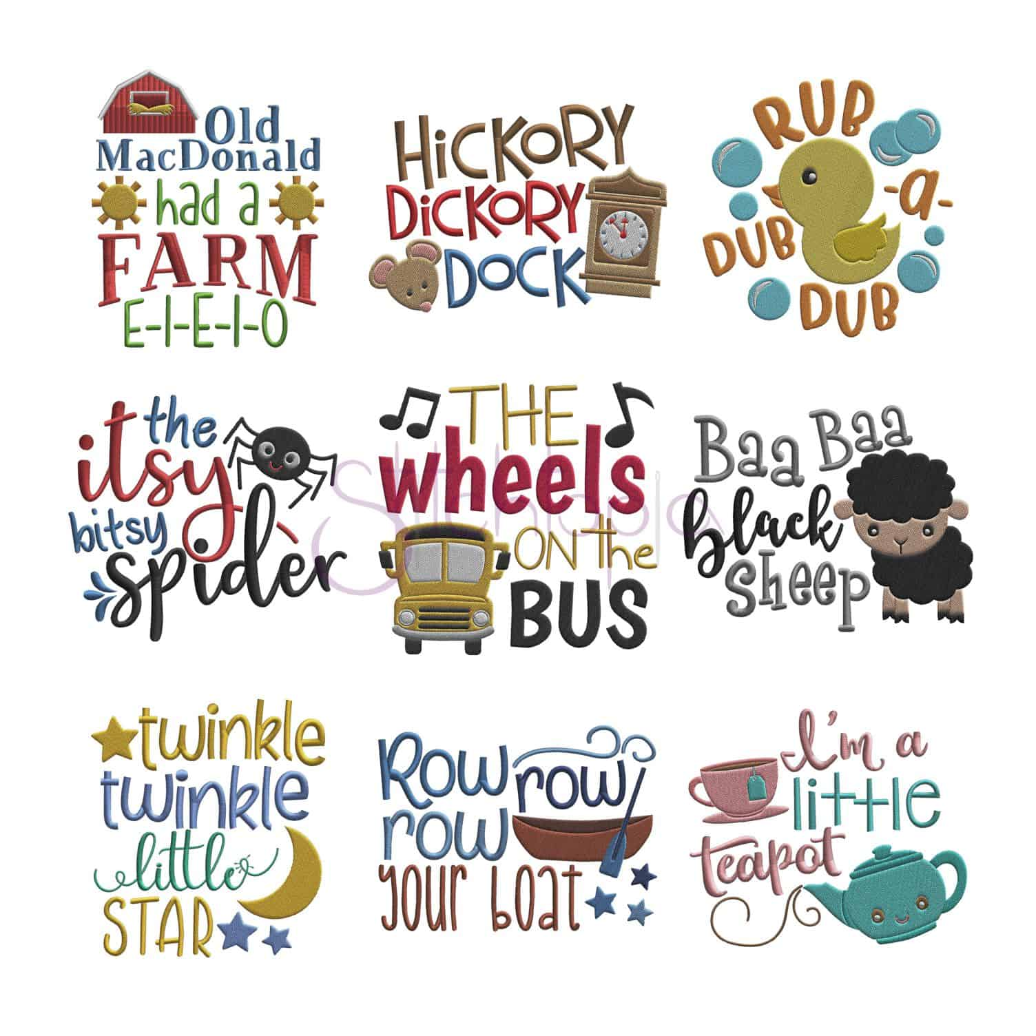 Nursery Rhymes Embroidery Design Set