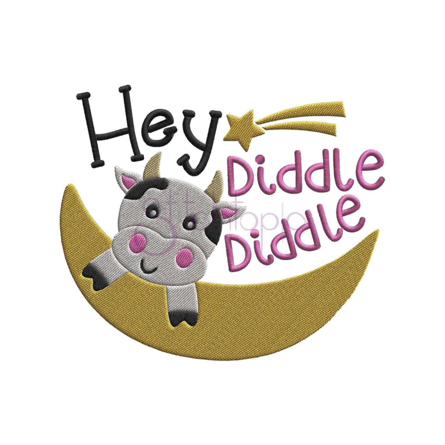 Nursery Rhymes Hey Diddle Diddle Embroidery Design