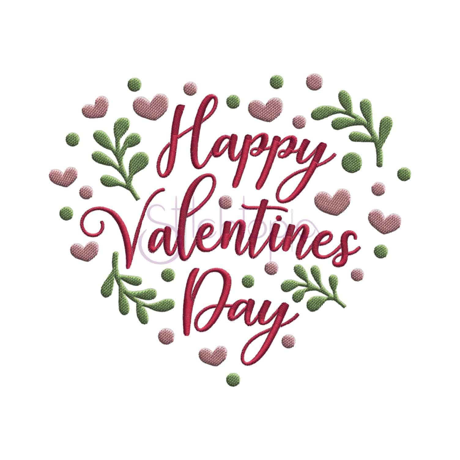 Happy Valentine S Day Heart Embroidery Design