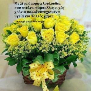 Read more about the article Με λίγα όμορφα λουλούδια σου στέλνω πάμπολλες ευχές, χρόνια πολλά ευτυχισμένα υγεία και πολλές χαρές!