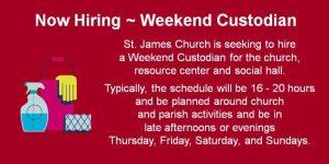 Now Hiring - Weekend Custodian