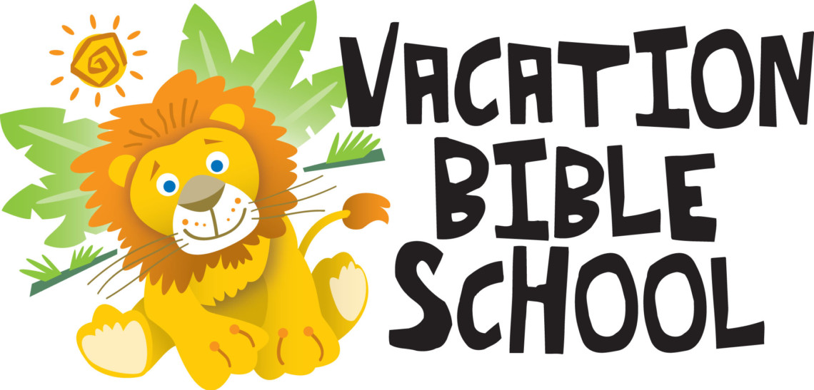 Vacation Bible School logo with friendly lion in front of palm tree