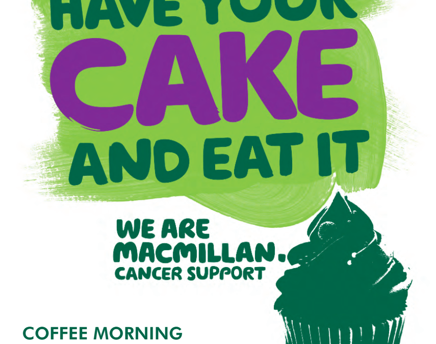 Macmillan Coffee Morning Sat 29th Sept 10am – 12noon