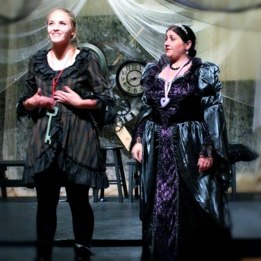 Our contemporary Alice Brimble played by Elizabeth Peo and Angela Conzone Dwyer as the Queen of Hearts in ALICE ISN'T ALL THERE