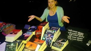 Sarah Jewell at Jersey City Writers Book Table