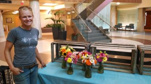 Amanda from Green Things Farm with some of their popular fresh cut flowers.