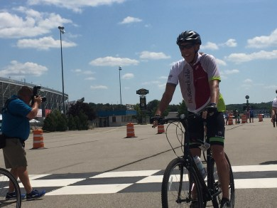 David Williams, CEO of Make-a-Wish America, honored the 30th anniversary of Michigan's WAM by joining Team Joe's as a rider. David crossed the finish line with the rest of the team.