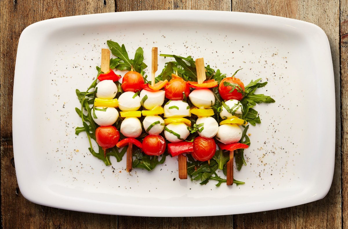 Tomato, mozzarella, and basil skewees