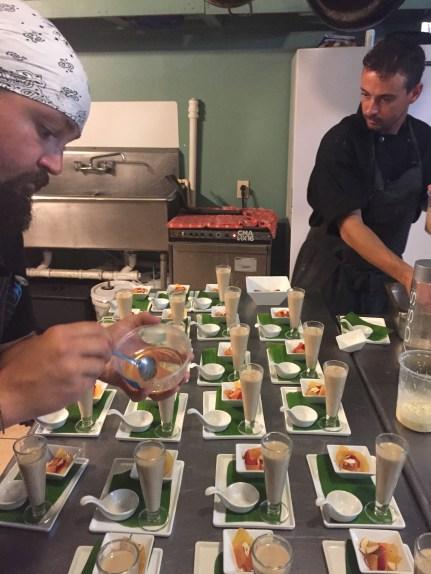 Chef Ben (left) and Chef Vinny plating dessert