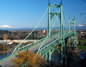 St. Johns Bridge going into St. Johns Portland Oregon, home of the Boosters, supporting businesses in St. Johns.