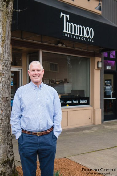 Greg Bair in front of the Timmco Insurance office on North Leavitt Avenue in Historic St. Johns.