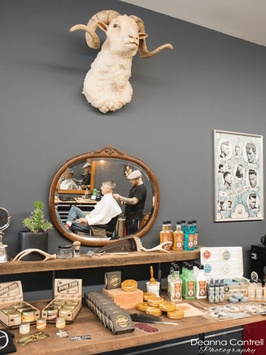 Ram's head decoration and men's grooming products.