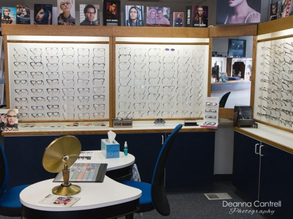 Eyeglasses on display