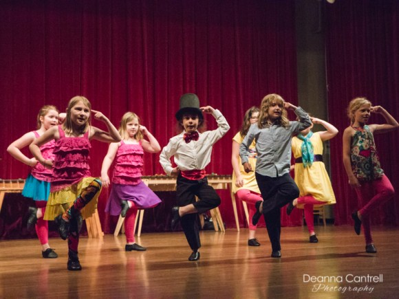 Young children performing a tap routine at Cathedral Park Performing Arts