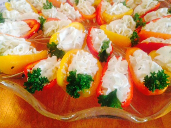 Chevre filled mini peppers