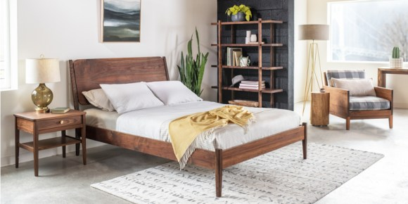 The Joinery, bed, chair, and end table