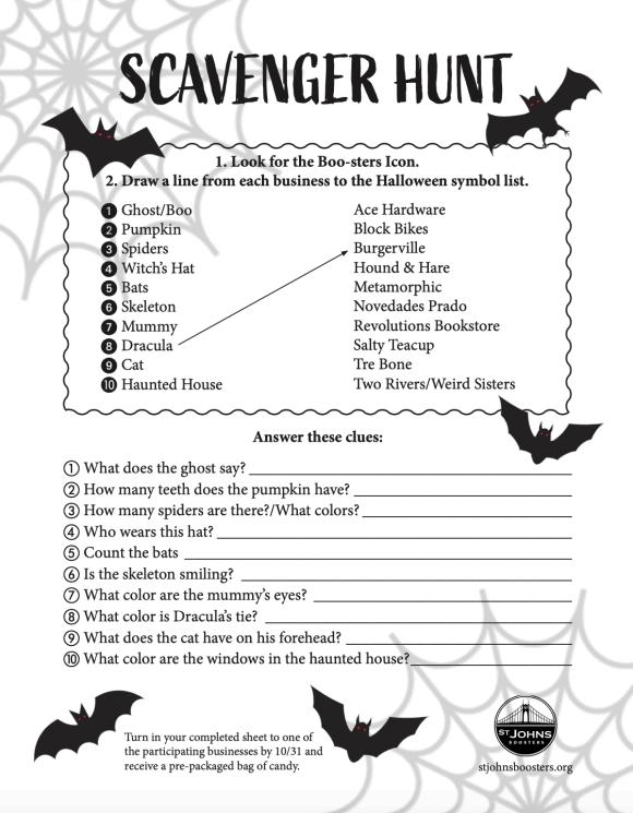 Scavenger Hunt Entry Sheet