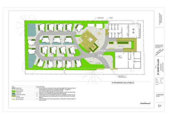 Landscape rendering of the St. Johns Village project.