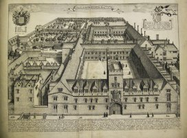 David Loggan's Oxiana Illustrata (1675) provides us with beautiful illustrations of the Colleges of the University of Oxford. Here we can see St John's College – the figures going about their daily lives give us a sense of an active, working College