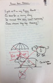 'Pennies from heaven' - with crossed out illustrations of piggy banks