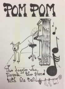 Illustration of 'Pompom, the doggie who played the piano with his tail'