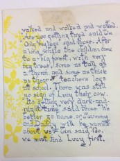 A page of 'Badjelly' - with yellow floral decorations