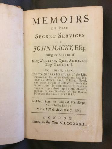 Title page of John Macky's memoirs