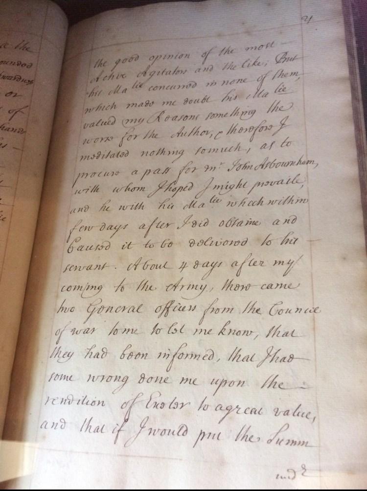 A manuscript page of Secret Transactions & Intrigues