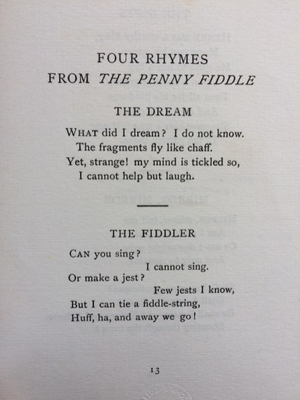 'Treasure Box' - two short poems, 'The Dream' and 'The Fiddler'