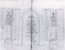 Among the Laudian Library's curiosities was a pair of skeletons, donated by John Speed, the first anatomy lecturer at St John's College. The two skeletons stood either side of the doorway at the far end of the Laudian Library in specially designed folding cases, until they were later transferred to the University's Anatomy School. Speed provided descriptions and drawings in this text (Σκελετòς πολυκινητός, est. 1630) explaining how the skeletons were put together.