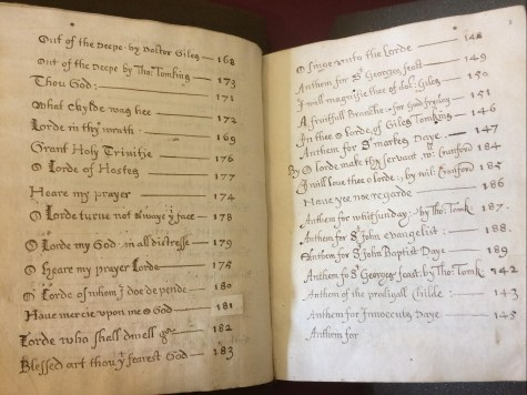 Two pages listing titles of pieces contained in the part-book