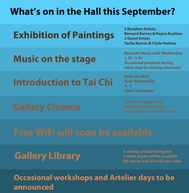 Poster advertising activities in the Gallery in September