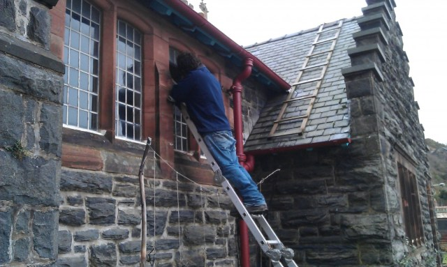 Work being done on the windows on 10 Dec