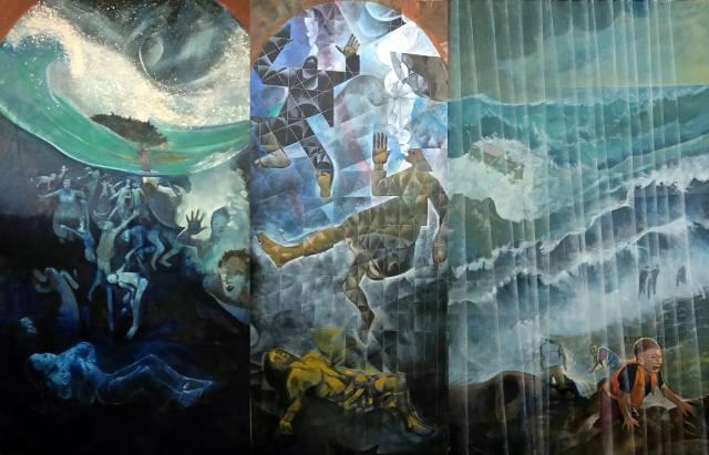Three panels by Bernard Barnes on the Refugee theme