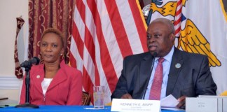 Gov. Kenneth Mapp and Human Services Commissioner Felecia Blyden at Friday's press conference