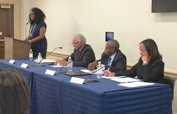 V.I. Delegate to Congress Stacey Plaskett and panel members at a June 8 Congressional Caribbean Caucus briefing (Photo provided by Plaskett's office)