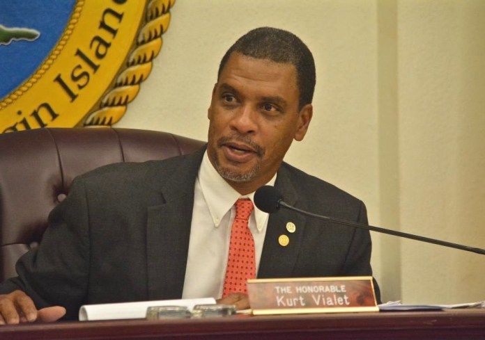 Kurt Vialet chairs the Finance Committee hearing Thursday. (Photo by Barry Leerdam, provided by the V.I. Legislature)