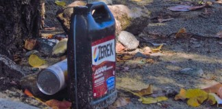 Containers like this antifreeze jug at Vessup Beach are among the debris frequently on local shores. (Photo by Kristina Edwards)