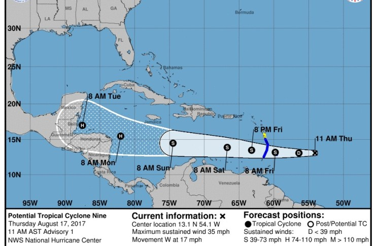 The five-day storm path as forecast by the National Oceanic and Atmospheric Administration. (Click on image for larger view.)