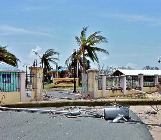 The entrance to the Vincent Mason Pool after Hurricane Maria. (Facebook photo by Glenroy)