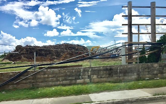 A big debris piles near Addelita Cancryn Junior High School on St. Thomas.