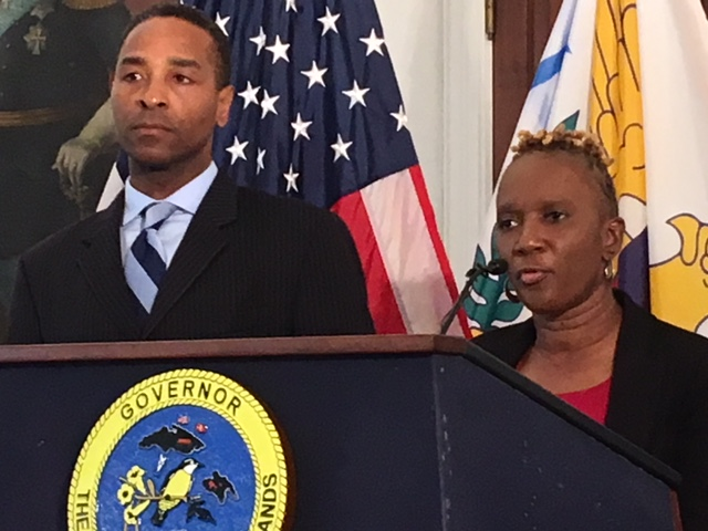 Attorney General Claude Walker and Human Services Commissioner Felicia Blylden discuss the Kmart settlement.