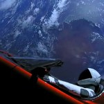 Elon Musk's cherry red Tesla convertible and a space-suited mannequin circle the Earth before heading out to deep space. (Photo from SPaceX)