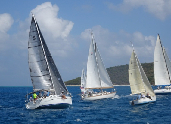 Competitors race downwind in the non-spinnaker class in the 25th St. Croix Regatta. (Anne Salafia photo)