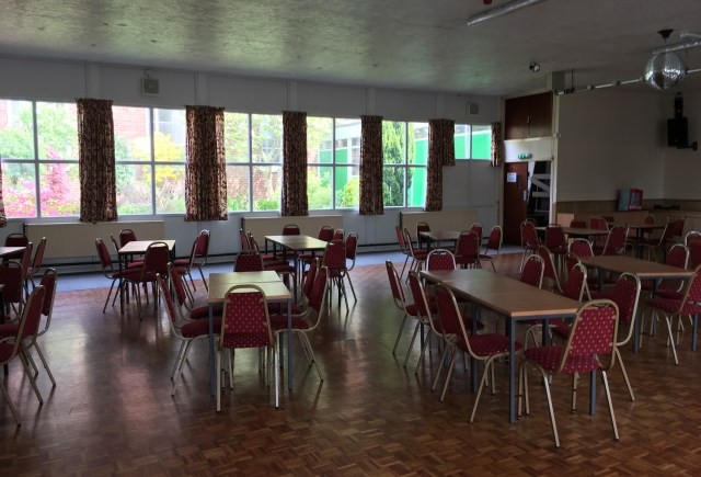 St John's Hall with parquet wooden floor and glitter ball