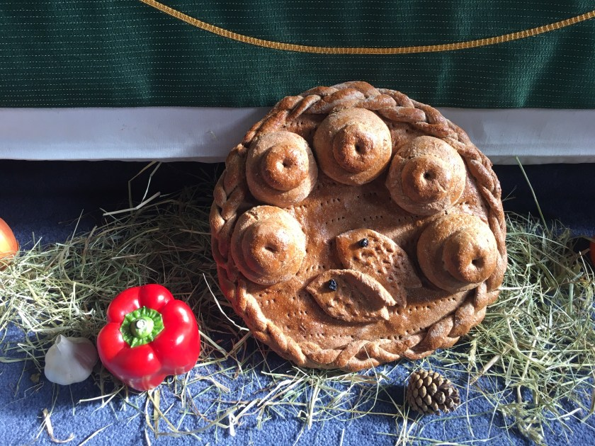 Harvest 2019 - close up of the harvest altar loaf. This year made with wholemeal flour.