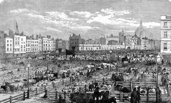 The old open air market in 1855, before the construction of the Meat Market